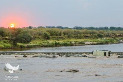A Safari Car Flipped in the Sand River, Serengeti National Park, Tanzania