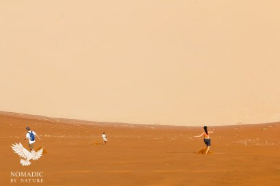 Running Down the Slip Face of Big Daddy Dune, Sossusvlei, Namibia