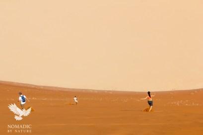 Running Down the Slip Face of Big Daddy Dune, Sossusvlei, Namibia