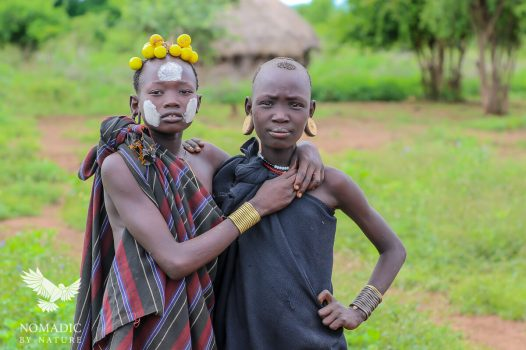 Two Young Girls from the Mursi Tribe, Ethiopia
