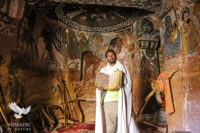 The Priest of Abuna Yemata Showing us a Goatskinned Bible in Written in Geez, Abuna Yemata, Ethiopia