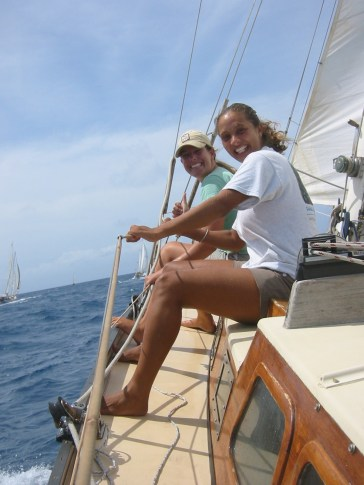 Racing with friends in Antigua.