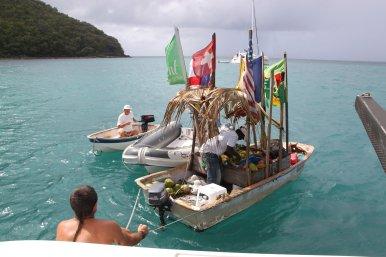 St Lucia Floating Market men.