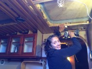 Putting back the galley ceiling.