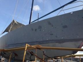 Sanding of the hull.
