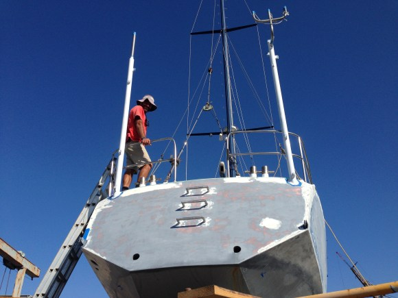 First coat of topcoat on the stern poles.