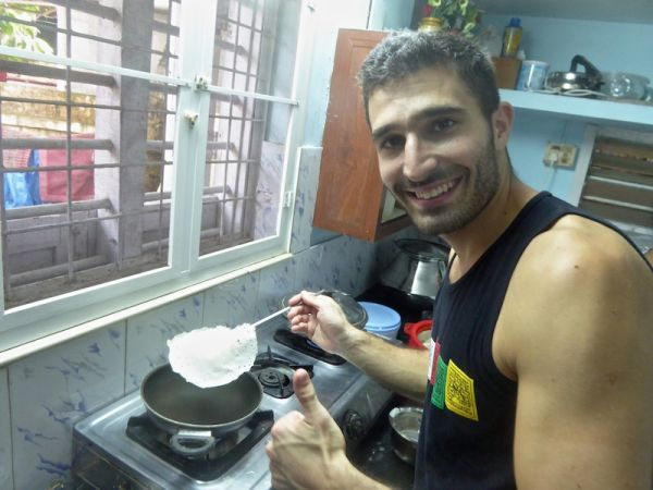 Stefan with freshly made palappam