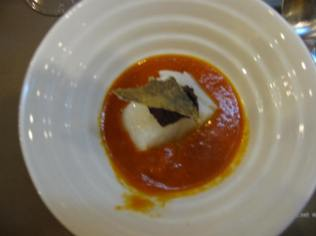 Roasted Red Bell Pepper Soup with Toasted Saffron and Cod