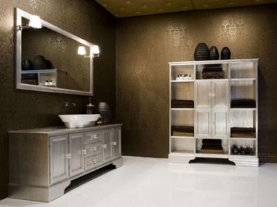 Silver Chest as Bathroom Vanity  Nomadic Decorator