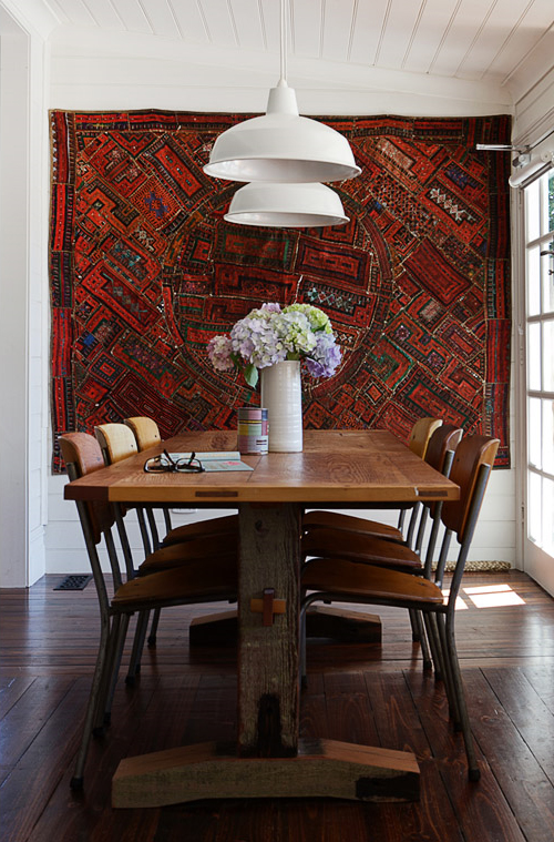 Rug Hung on Wall via The Design Files