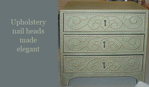 Upholstery Nail Heads on Leather Dresser