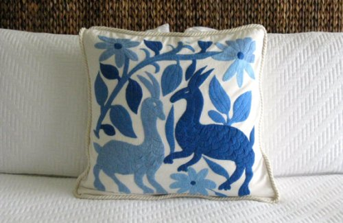 Embroidered Otomi Pillow from Toselli on Etsy