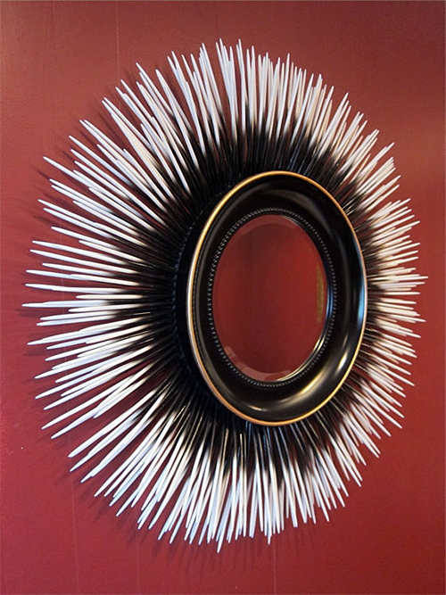 Resin Porcupine Quill Mirror by Applewood Furniture + Design