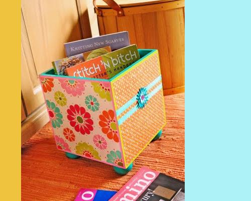 Scrapbook Paper Decoupage on Storage Cube via favcrafts