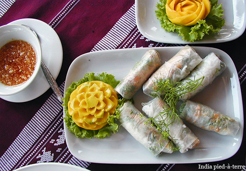 Vegetarian Spring Rolls at Villa Santi in Luang Prabang Laos