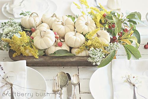 White Pumpkin Centrepiece via Craftberry Bush