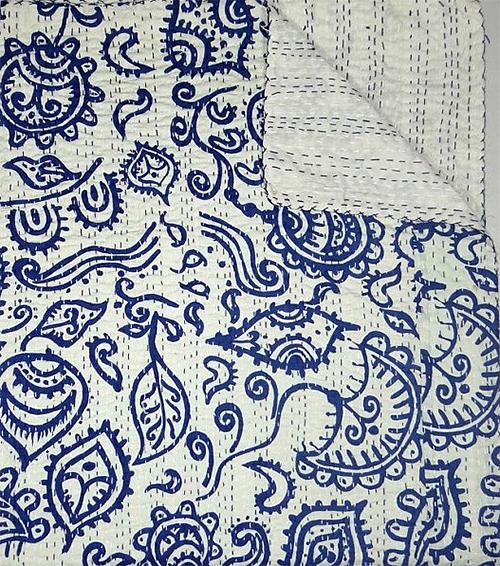 Indigo Kantha Quilt from Maharani Arts