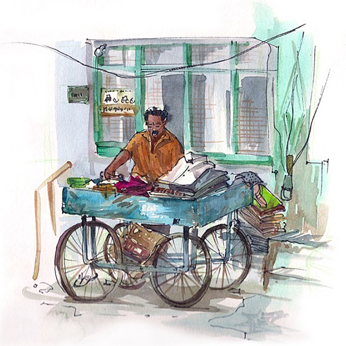 Ironing Man in India Watercolor by Suhita of Sketch Away an Etsy Shop