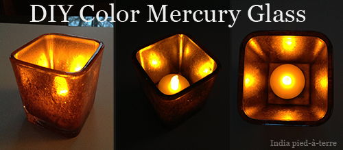 All Lit Up: Colored Mercury Glass Candle Holder