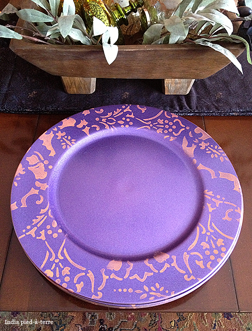 Purple Stenciled Plate Chargers