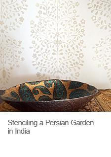 Stenciling a Persian Garden in India