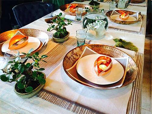 Table Setting with Coppre Wares