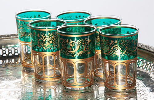 Green and Gold Moroccan Mint Tea Glasses from Moroccan Prestige