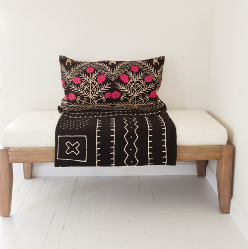 Mud Cloth and Bench at Design Manifest