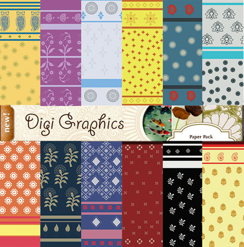 Indian Block Print Scrapbook Paper Pack from Digigraphics Etsy Shop