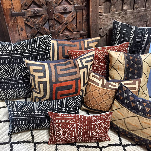 Kuba Cloth and Mud Cloth Pillows at Tierra del Lagarto
