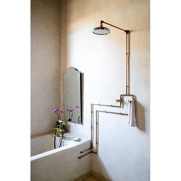 English Victorian Exposed Shower Plumbing Nomadic Decorator