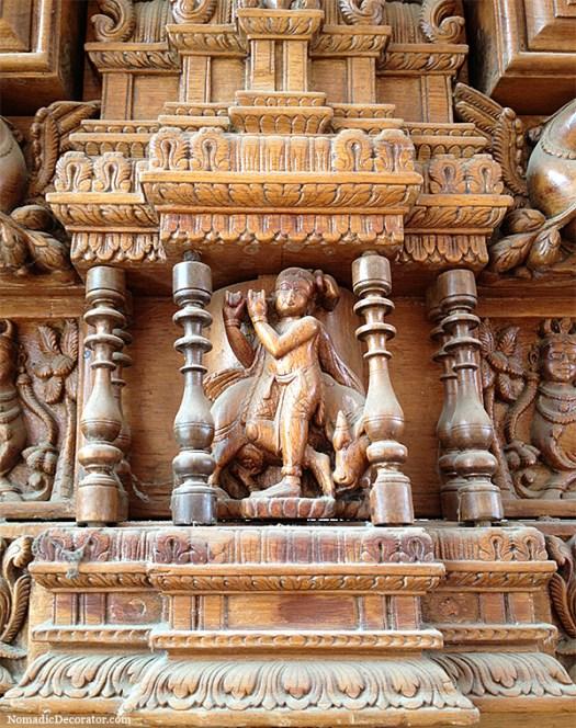 Krisha on Antique South Indian Wood Door