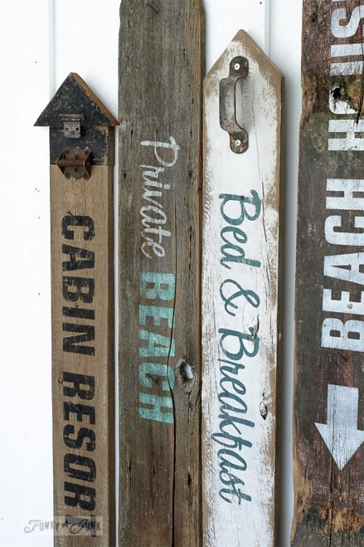 Funk Junk Interiors Stenciled Beach Signs