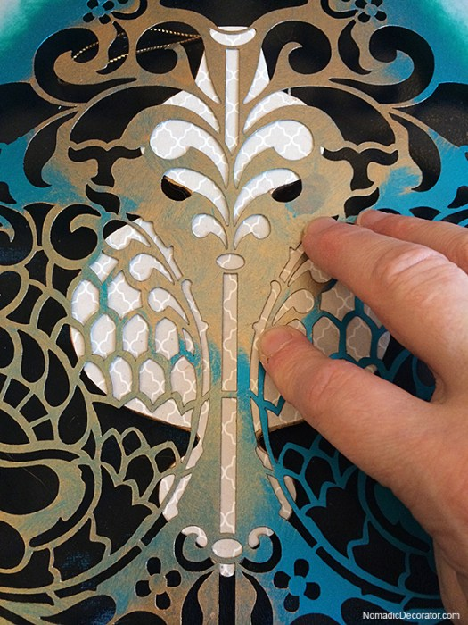 Placing Large Stencil on Small Ornament