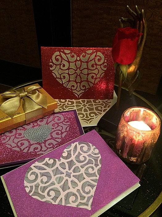 DIY Stenciled Valentine's Day Cards