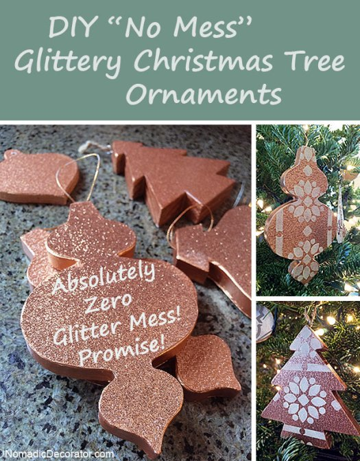 DIY No Mess Glitter Ornaments