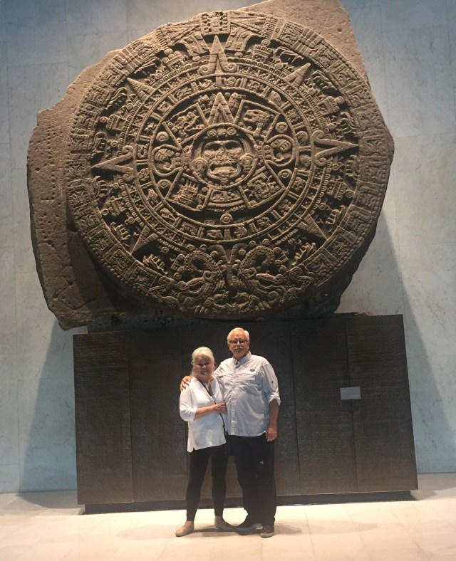 Together under the Aztec Sunstone at the Museum of Anthropology