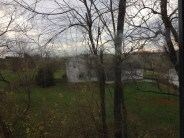 View of the countryside (complete with toddler smudges on the window)