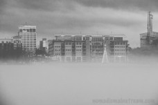 A B&W version of the scene across the river (fog)