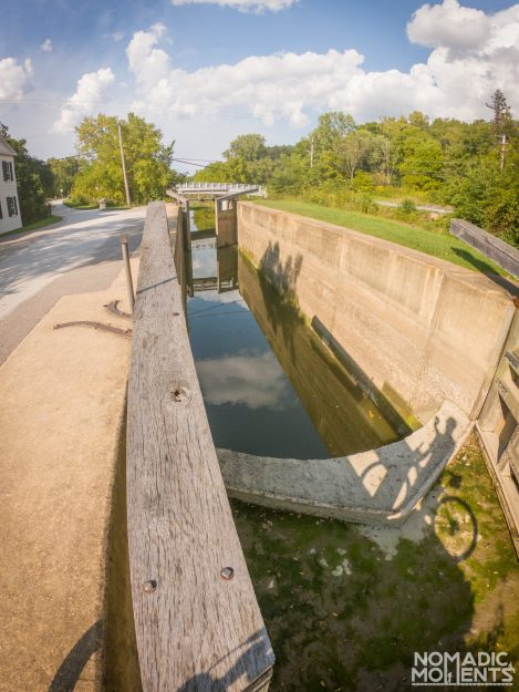 A canal lock on the Towpath trail