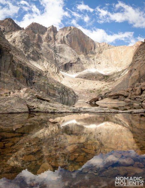 Reflections of Longs Peak in Chasm Lake.