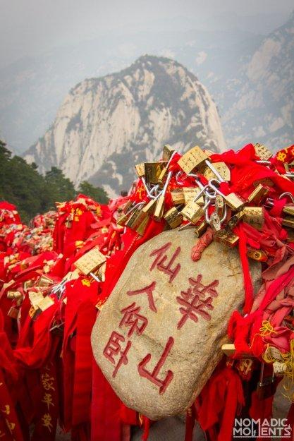 Locks and ribbons on Huashan.