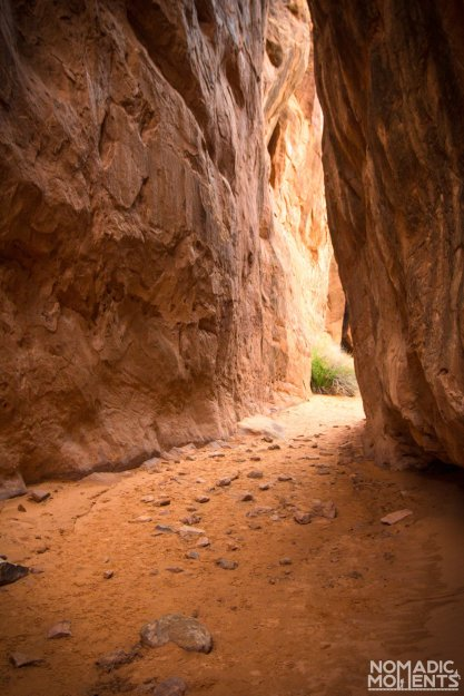 A sandy path through a slot canyon.