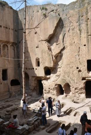 Courtyard at Eski Gümüşler Manastırı in Turkey