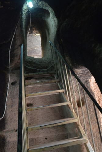 A ladder to reach another level at Eski Gümüşler Manastırı in Turkey