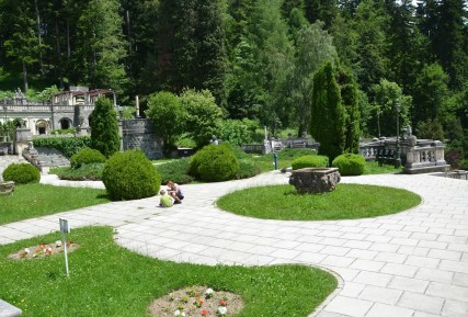 Garden at Peleș Castle in Sinaia, Romania