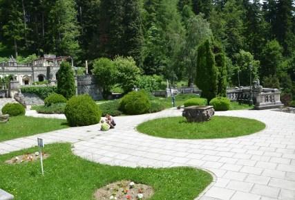 Garden at Peleș Castle in Sinaia, Romania