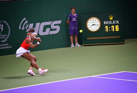 Serena Williams in the 2012 WTA Championships at the Sinan Erdem Spor Salonu in Bakırköy, Istanbul, Turkey