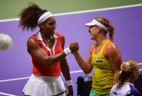 Serena Williams and Angelique Kerber in the 2012 WTA Championships at the Sinan Erdem Spor Salonu in Bakırköy, Istanbul, Turkey