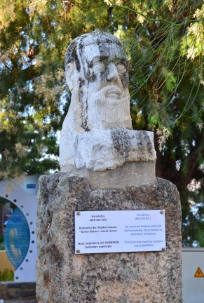 Bust of Herodotus at the Castle of St. Peter in Bodrum, Turkey